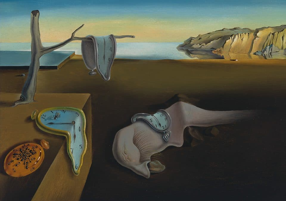 Salvador Dali painting of a melted clock